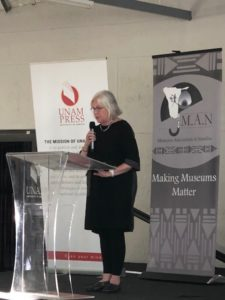 Elizabeth Baer presenting at her book launch at the University of Namibia.