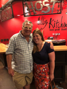 Nadine and Prof. Greg Kaster of the Gustavus History Department caught up over lunch in Minneapolis during one of her return trips to Minnesota.