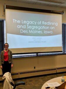 Kendyl Larson presenting her Master's degree research.